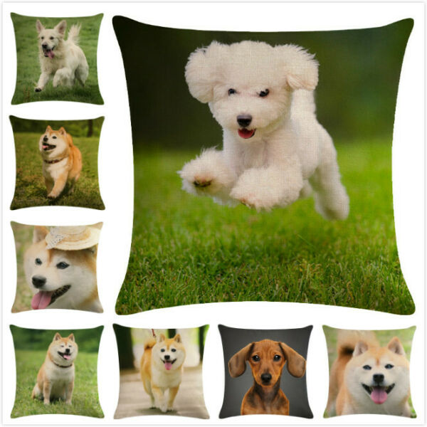 Home Decor Lovely Dog Printed Cushion Cover Linen Couch Pillow Case Decorative $3.86