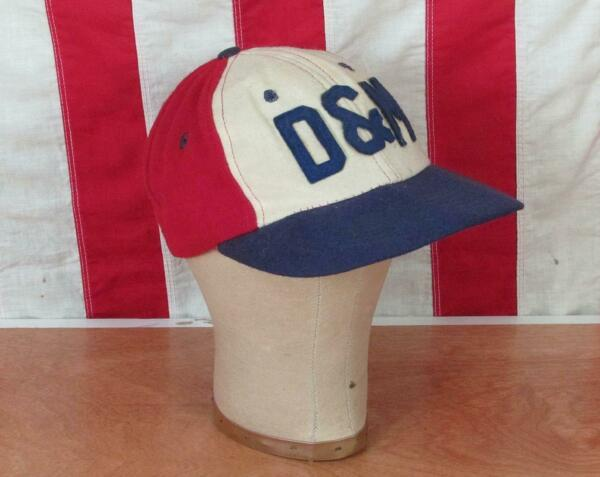 Vintage 1950s D&M Wool Baseball Cap New Era Hat Letter Patch RedWhiteBlue 1of2