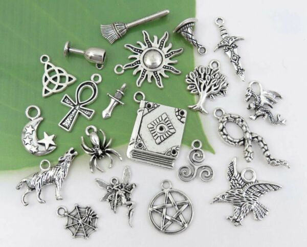 20 WICCAN Charms Antique Silver Mixed Collection Set Lot Pagan Witch US Seller