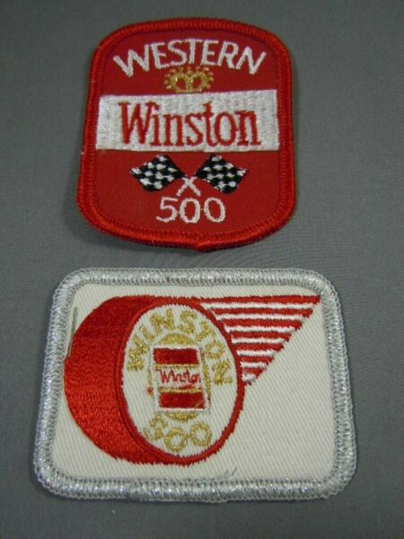 Pair Vintage NASCAR Winston 500-Western 500 Embroidered Jacket Patches NOS