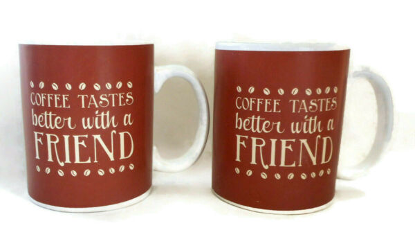 COFFEE TASTES BETTER WITH A FRIEND Cups Mugs  Set of 2 Brown Farmhouse Style