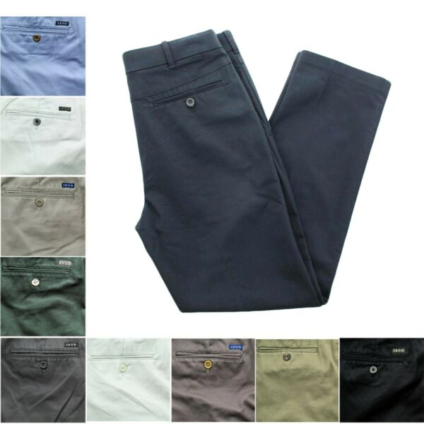 IZOD Men's American Flat Front Straight Fit Wrinkle Resistant Chino Khaki Pants