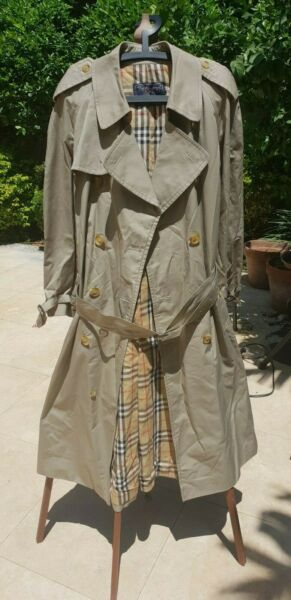 Men#x27;s Vintage Burberry Green Beige Cotton Coat Size XL $270.00