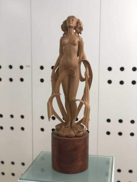 """The Autumn"" Season Girl Boxwood Carving Statue"