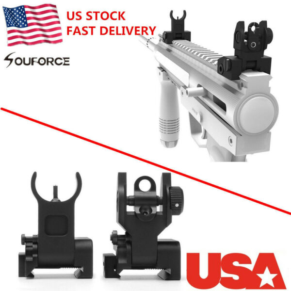 US Flip up Front Rear Iron Set BUIS Back Up Sights For 20mm Mounts Gun Rifle