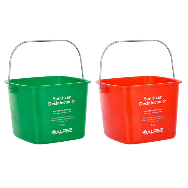Alpine Industries 8 Quart Plastic Cleaning Pail Water Mop Bucket with Handle