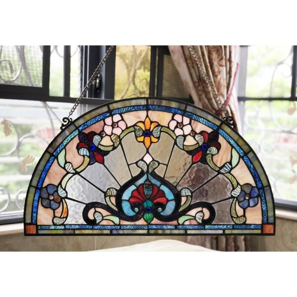 Tiffany Style Victorian Stained Glass Window Panel 24