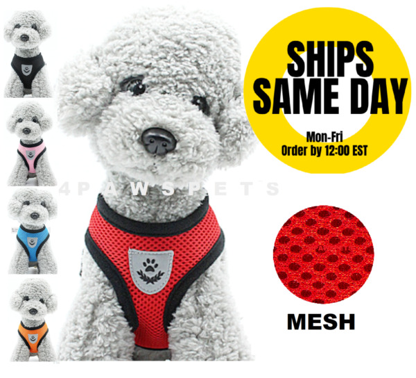 Mesh Padded Soft Puppy Pet Dog Harness Breathable Comfortable Many Colors S M L $7.55
