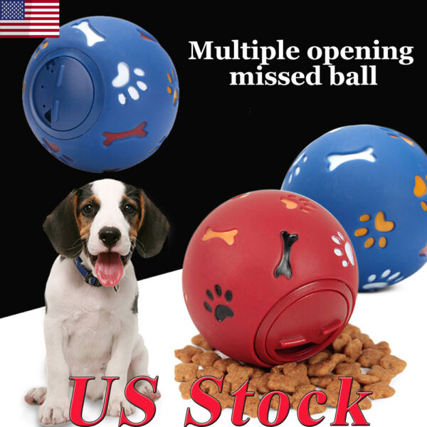 US Pet Training Ball Dog Playing Toys Puppy Cat Chew Treat Toy Food Dispenser