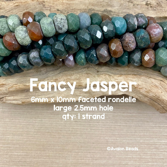 Fancy Jasper LARGE HOLE Beads FACETED 6x10mm Rondelle 8 Inch Strand $7.95