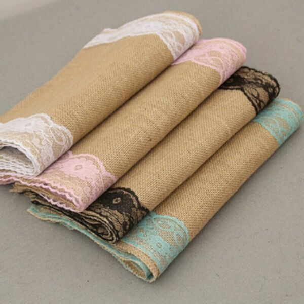 Vintage Burlap Lace Hessian Table Runner Fall Classical Natural Jute Home Supply