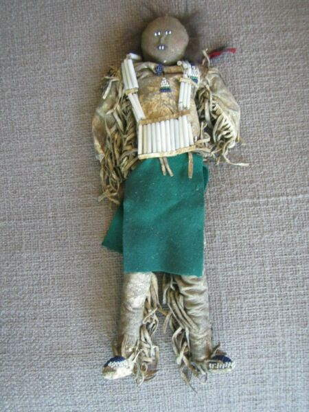 RARE Antique Native American Indian Doll~BUCKSKIN FRINGE BEADED~Museum Quality