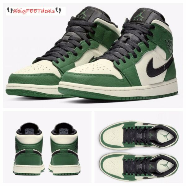 RARE SIZE 18 Nike Air Jordan Retro One 1 MID SE Green Black 2 3 4 5 6 7 8 9 11