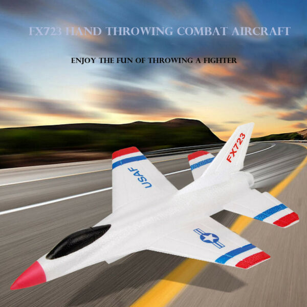 Foam Throwing Glider Fighter Inertia Airplane Toy Hand Launch Aircraft Model