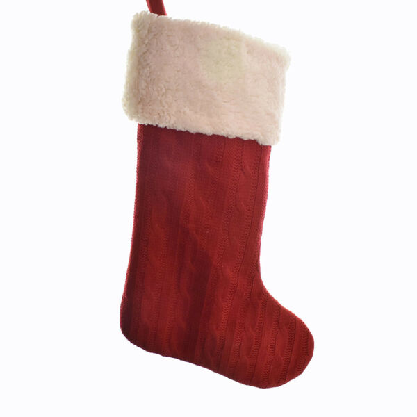 Cable Knit Red and White Stocking 20-Inch