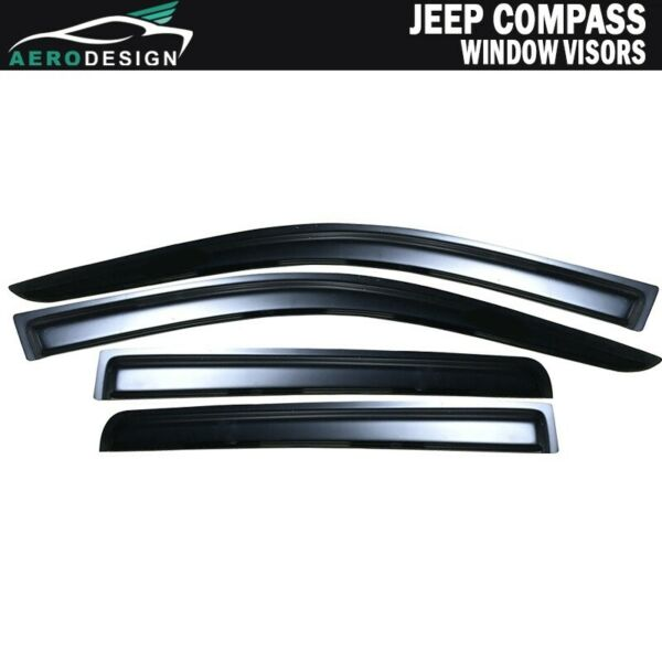 For 07-17 Jeep Compass 4Pcs Window Viors Tape On Slim Shade Vent Guard Deflector