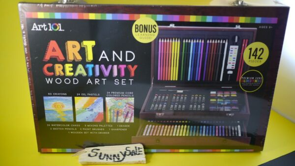 Art 101 Wood Box Case 142 Piece Drawing Artist Sketch Kit Paint Pencil Pastel