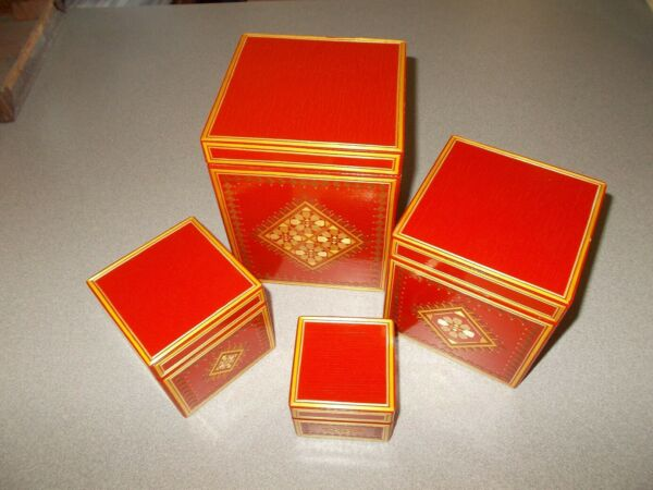 Nesting wooden boxes decorative handcrafted vintage Soviet Union RARE pre owned