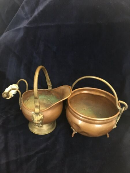 Vintage Copper And Brass Cauldron And Fireplace Bucket Set - Made In Holland