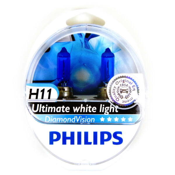 2x PHILIPS Diamond Vision 5000k Headlight Bulb H11 55W - Authentic Germany