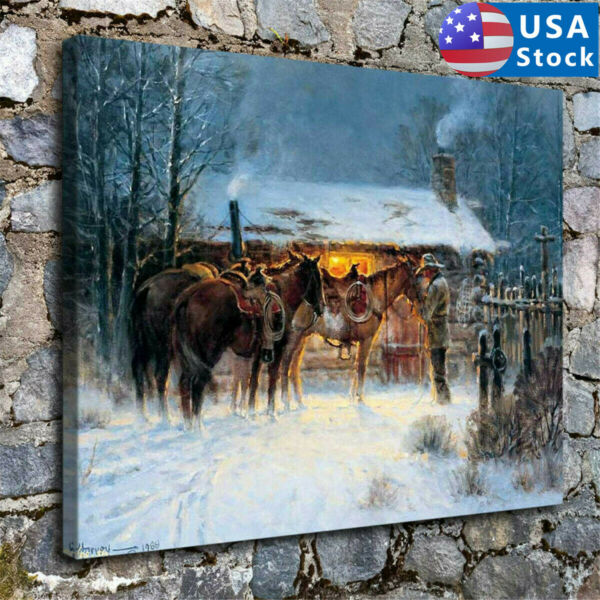 Western Cowboy Horse Winter Home Decor HD Canvas Print Picture Wall Art 30*45cm