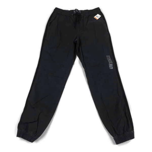 American Rag Mens Pants Jogger Drawstring Relaxed Knit Charcoal Gray Side Stripe