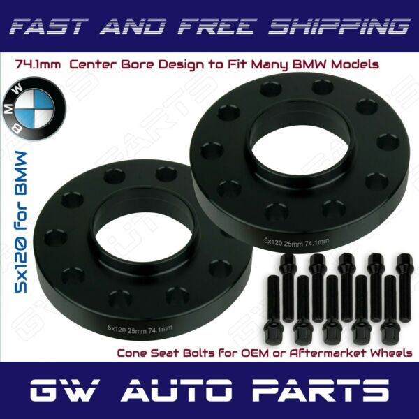 2Pc BMW 5x120 Wheel Spacers Kit 25mm Thick I.D 74.1mm With Bolts Fits Model E39 $82.35