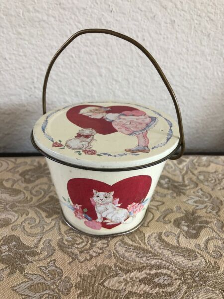 """Vintage 80's MIDWEST~3 12"""" Tin Mini BucketPail with Lid  Heart Cat Little Girl"""