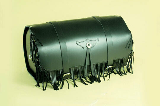 Carryall Trunk Large Rear IN Black Leather amp; Fringe Motorcycle 38 L $415.52