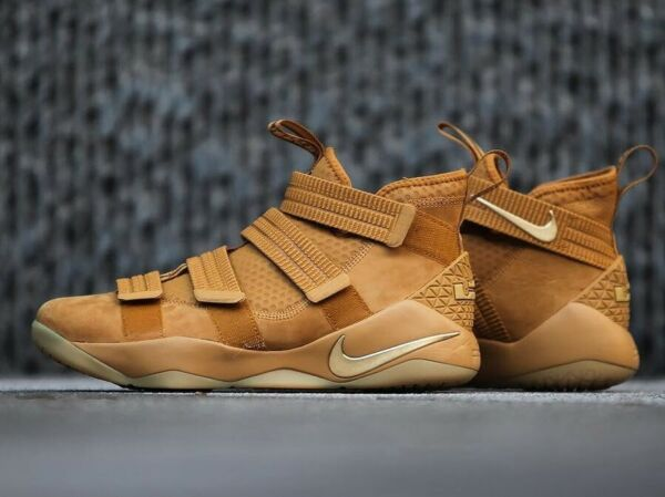 Mens Nike Air Lebron XI Soldier Sneakers New, Wheat 897646-700 Wheat Gold