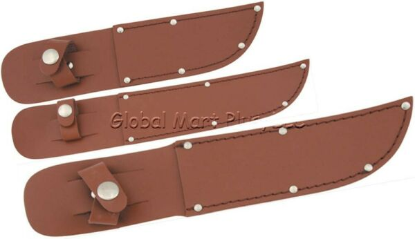 Knife Sheath Pouch Case Fixed Straight Blade Snap Strap Brown Leather Belt Loop