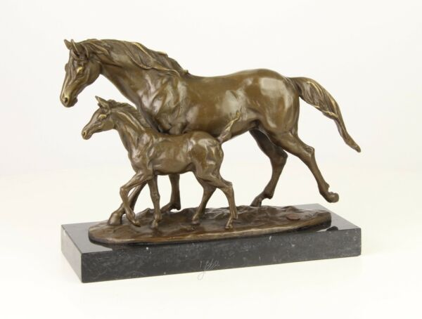 9973256-ds Bronze Sculpture Horse Mare with Foal 9 38x4 1116x13in