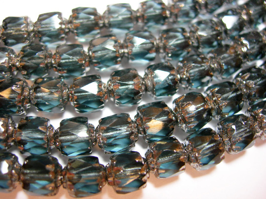 25 Montana Blue and Silver Cathedral Czech Glass 6mm beads $4.99