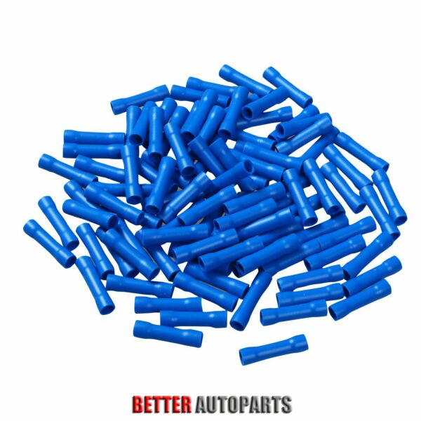 100 Pc Blue 16-14 Gauge Vinyl Fully Insulated Copper Butt Connectors