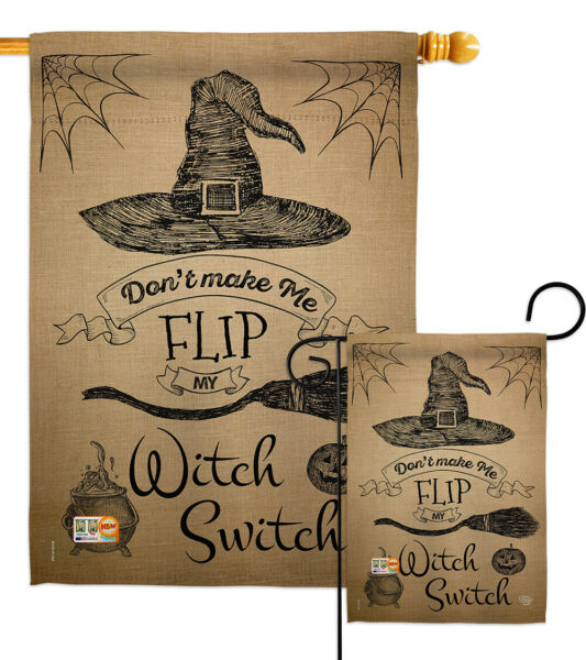 Flip my Witch Switch-Fall Halloween Garden Yard Banner House Flag