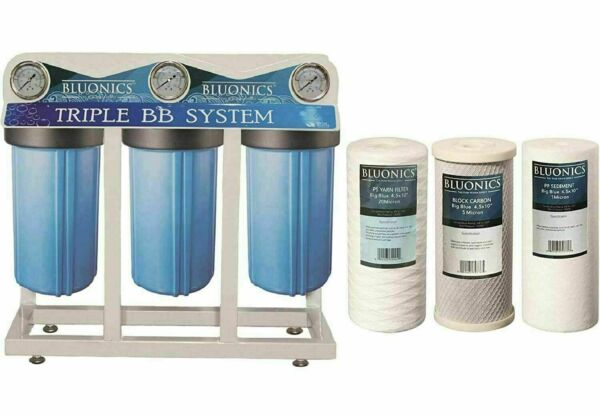 Bluonics Triple Whole House City amp; Well Water Filter Size 4.5 x 10quot; $326.00