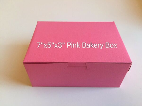Pink Bakery Pastry Boxes for Cake Cupcake 7quot; x 5quot; x 3quot; Made in US 12 cts