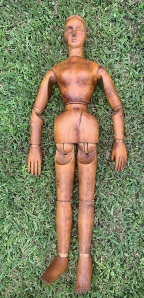"""Female 36"""" Artist's Mannequin Model 19th Century Wooden Doll Fully Articulated"""