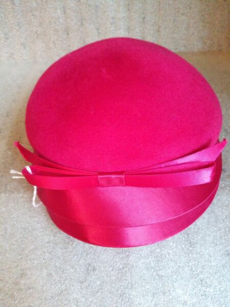 Vintage Henry Pollak Inc New York 100% Wool Hat Hot Pink