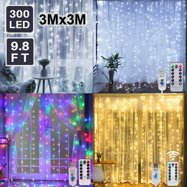 300LED10ft Curtain Fairy Hanging String Lights Home Wedding Party 8 Modes USB