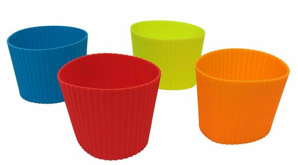 Pack of 4 Heat Resistant Assorted Colors Insulated Silicone Coffee Cup Sleeve $10.99