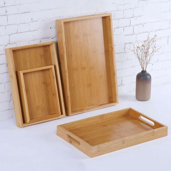1pc Wooden Serving Tray with Handles for Breakfast Decor Ottoman Large Wood Soft