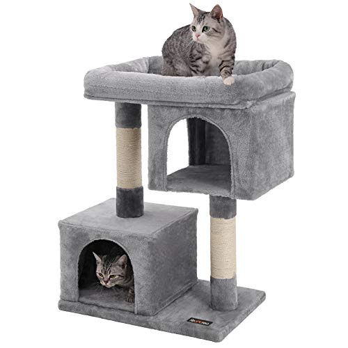 FEANDREA Cat Tree for Large Cats 2 Cozy Plush Condos and Sisal Posts UPCT61W