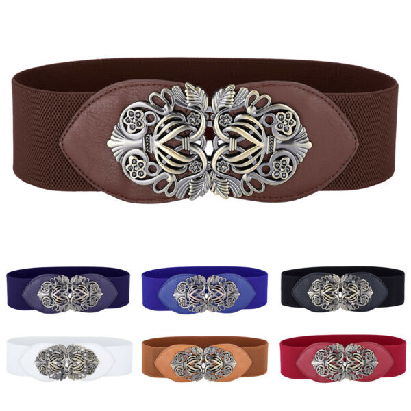 Women Wide Waist Belt Vintage Metal Flower Elastic Stretch Buckle Waistband Belt