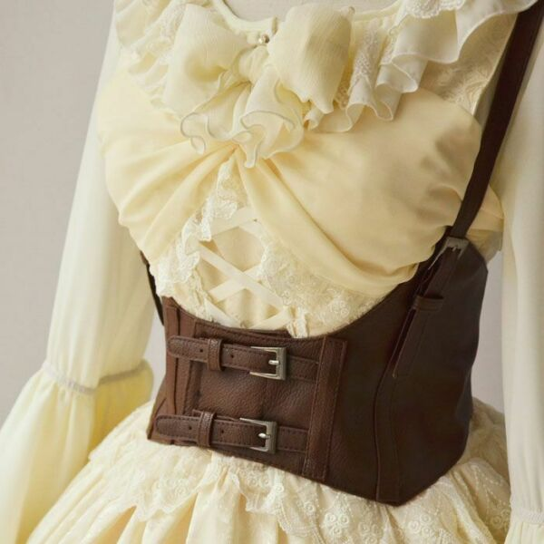 Vintage Women Corset Leather Vest Steampunk Harness Strechy Waistcoat Wide Belt