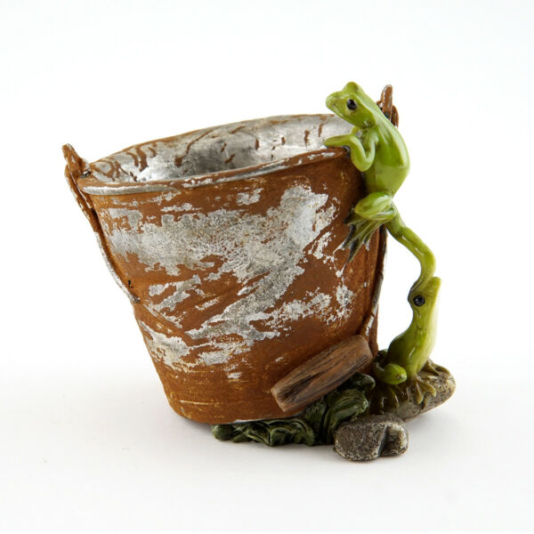 Fairy Garden Mini - Frogs on Rustic Pail Succulent Flower Pot
