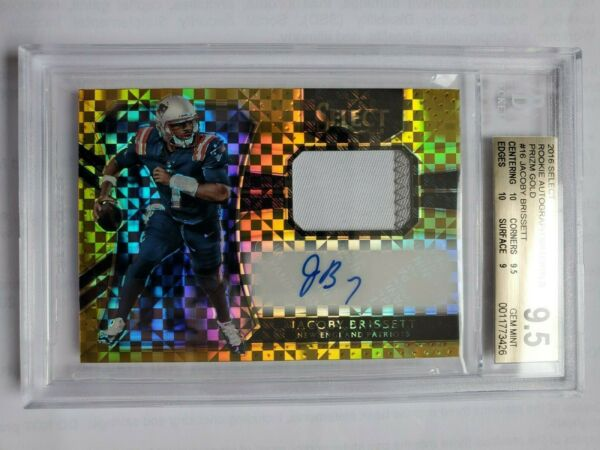 2016 Jacoby Brissett rc auto jsy Select GOLD #610! BGS 9.5 with 2x 10s! POP 1!