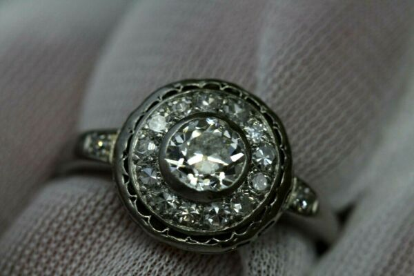 Authentic Woman's Premium Platinum Diamond Halo Ring .75ct sz 8