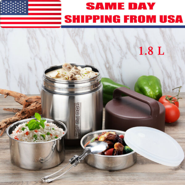 1.8L Vacuum Insulated Lunch Box 3 Tier Jar Hot Thermos Food Container Stainless
