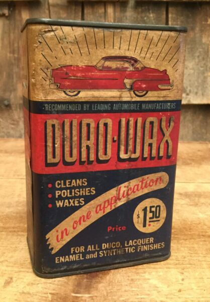 Vintage 4 oz Motor DURO-WAX Tin Can W Paper Label Gas Oil Service Station Sign